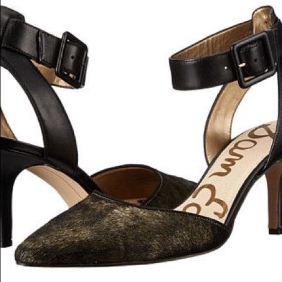 dc84163e1e1d6 Sam Edelman Okala Black Gold Ankle Strap Heel Sz 9.  M 5a95d35a2ae12f538ff30b97